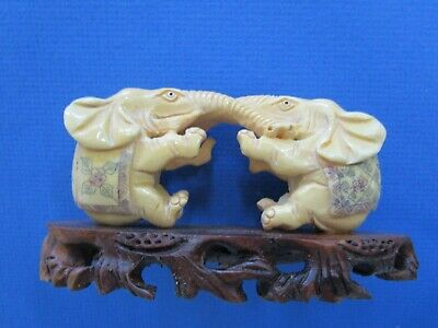 Pair of CHINESE HAND CARVED & ETCHED COW BONE , ELEPHANTS on stand