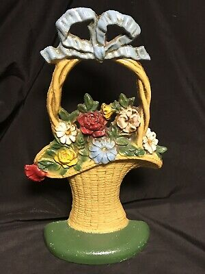 Vintage Hubley #69 French Flower Basket Door Stop Original Paint