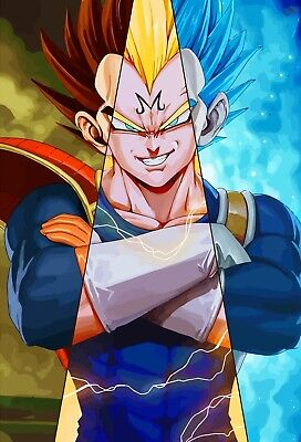 Dragon Ball Super Poster Evolution of Vegeta SSJ 1 2 Blue Majin DBZ 11x17 13x19