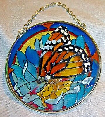 STAINED GLASS style MONARCH BUTTERFLY & FLOWER round hanging suncatcher 3.5 inch