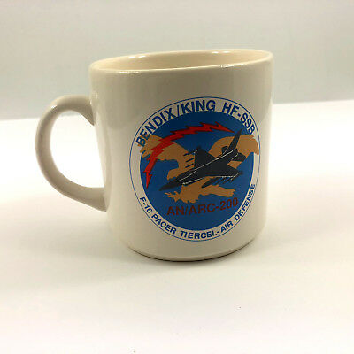 Vintage Coffee Mug Bendix King HF-SSB F-16 Pacer Tiercel Air Defense Jet Arc