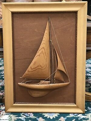 Custom Handmade & Carved Wood Picture and Frame ,Sailboat (all Wood)1972, Signed