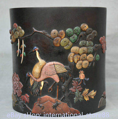 "8.4"" Old Chinese Redwood Wood Inlay Shell Crane Birds Pine Brush Pot Pencil Vase"