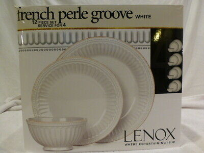 Lenox French Perle Groove White 12-piece Dinnerware Set SERVICE FOR 4 New $300
