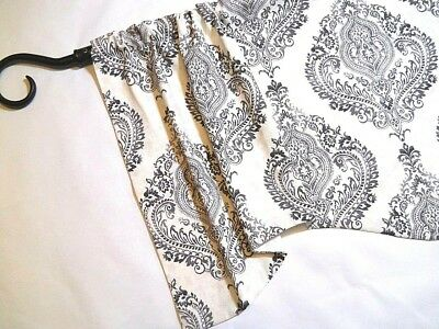 FRENCH FARMHOUSE~Damask~Gray~GREY~Black~cream~VALANCE~Window~Topper~Curtain