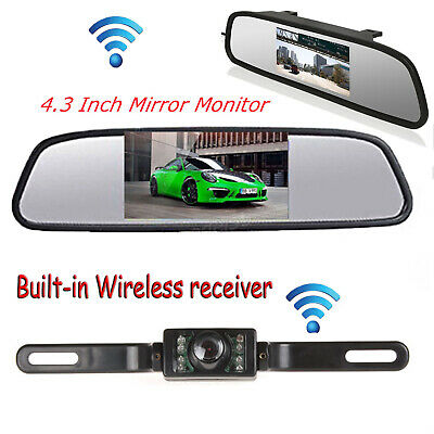 """Built-in Wireless Backup License Plate Camera & LCD Monitor 4.3"""" Rear View Kit"""
