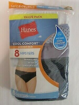 3dc737312465 Hanes Womens Cool Comfort Microfiber Hipster Panties M841AS 8-Pack SIZE: 5