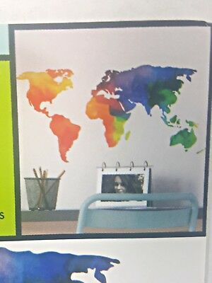 Continent wall stickers, peel and stick. 1 sheet of rainbow stickers.