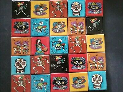 MEXICAN TALAVERA TILES x 25 ( 5cm x 5cm each ) set X