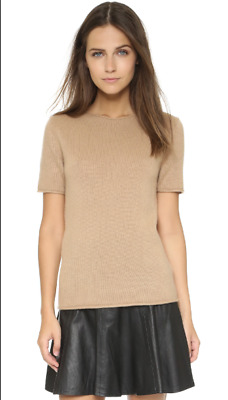 2a1baec1edf Theory Women's Tolleree Short-Sleeve Cashmere Sweater Natural Sz XS / P / 0