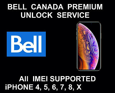 Bell Virgin Canada Premium Unlock Permanent Service for iPhone 6 + 7 8 plus X