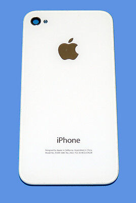 Original iPhone 4 WHITE Battery Door A1349 CDMA Glass Back Cover / Apple Logo