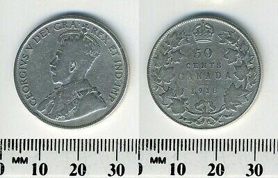Canada 1918 - 50 Cents Silver Coin - King George V - WWI mintage