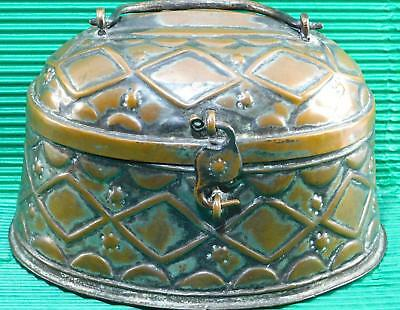 Antique Rare OTTOMAN Turkish Copper Bath Hammam Box Hand Crafted Raised Pattern