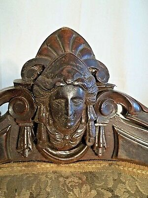 Antique Victorian John Jelliff Walnut Chair With Carved Female Bust On Crest