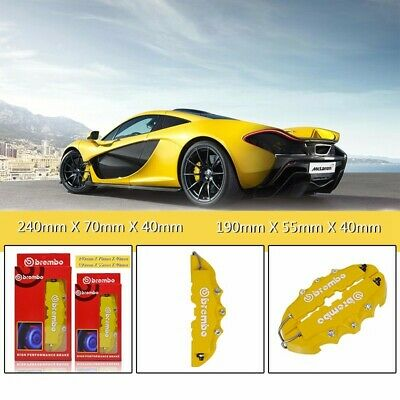 4x Yellow Universal 3D Brembo Style 2 Front 2 Rear Disc Car Brake Caliper Covers
