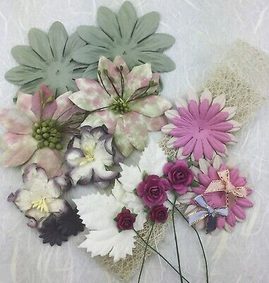 Paper Flower Value Pack with Bows and Mesh Ribbon Sage/Dusky Pink 21 Pieces