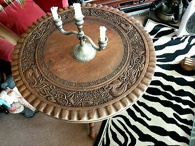 Old Chinese Carved Teak Ornate Dragon Table …beautiful accent and display piece