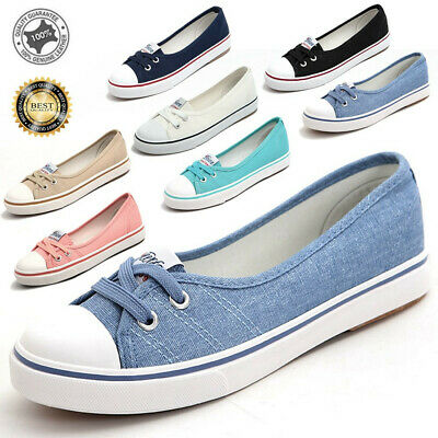 2019 Women's Ladies Canvas Shoes Pumps Slip On Summer Size Flat Lace Up Loafers