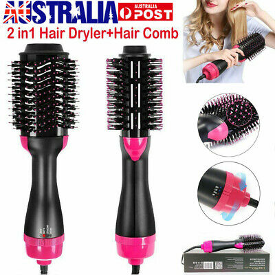 2In1 One Step Hair Dryer and Volumizer Brush Straightening Curling Iron Comb AU