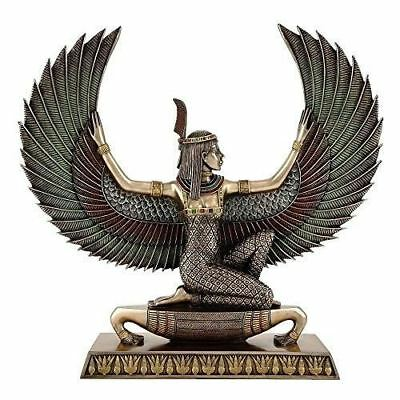 13.5-inch Large Egyptian Winged Maat Goddess of Truth and Justice Real Bronze Po