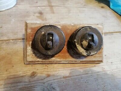 2 x Vintage light switches crabtree round with original wood mount