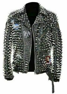 212c4d73 New Mens DSQUARED 2 Unique Style Full Silver Studded Brando Biker Leather  Jacket