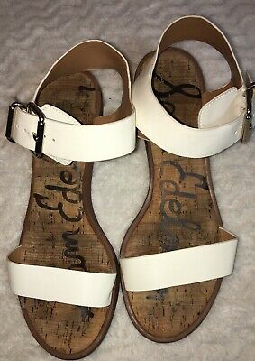 1af519a8d73b SAM EDELMAN Trixie White Ankle strap Sandals Man Made Cork Sole Low Heel  Size 8M