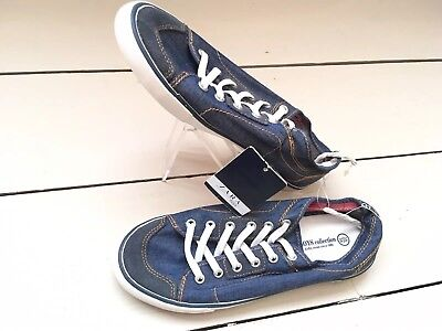 New Zara Kids Boys Denim Effect Blue Sneakers Trainers Shoes UK2/2.5 EU34/35