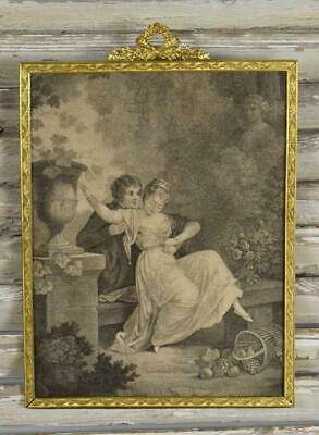 Superb Large Antique French Brass Picture Frame, Flower, Torch & Quiver Crest
