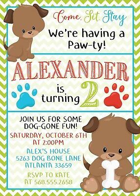 DOG BIRTHDAY INVITATION Puppy Party Invitations First Birthday Set Of 12 Invites