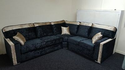 Swell Abbey Black Gold Corner Sofa In Crushed Velvet Any Colour Pabps2019 Chair Design Images Pabps2019Com