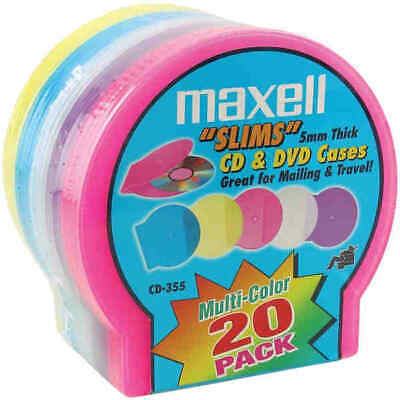 Maxell 190073 Slim CD/DVD Jewel Cases 20 Pack - Assorted Colors