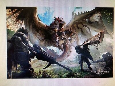 MONSTER HUNTER WORLD 24x36 POSTER PLAY STATION SONY VIDEO GAMES XBOX ONE PC GIFT