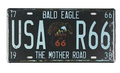 Bald Eagle USA R66 tin sign car plate plaque metal artwork
