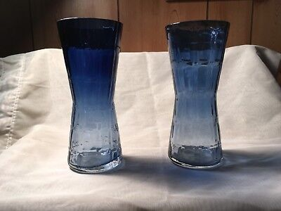 Scandinavian blue glass vases vintage (Alsterfors)