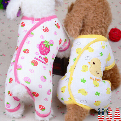 Dog Cotton Pajamas Sleepwear Small Dog Soft Clothes Pet Jumpsuit Coat Apparel US