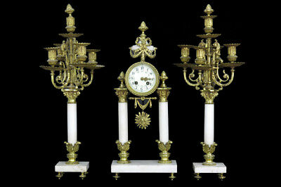 LOUIS XVI onyx marble clock set candelabras 1935 French antique