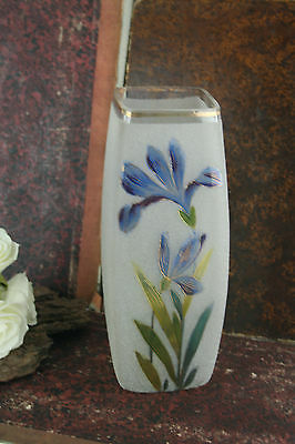 French art nouveau frosted glass enameled vase floral decor