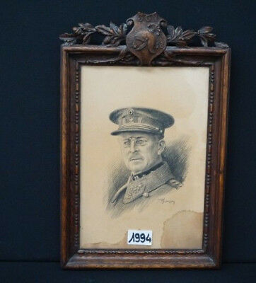 antique Portrait drawing Officer general army WW1 1914-1918 black forest wood