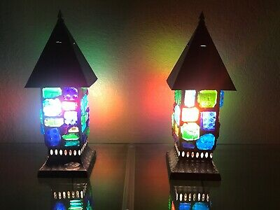 (2) Vtg Mid Century Colored Chunk Glass Gothic Lamps Lanterns Peter Marsh Style