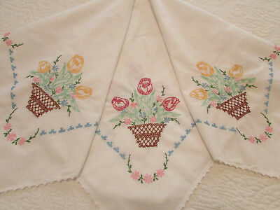 """Vintage White Cotton Tablecloth Hand Embroidered Tulip Flowers 29"""" x 32"""""""