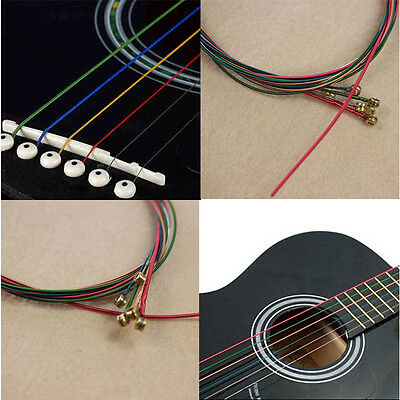 One SET 6 pcs Rainbow Multi Color Acoustic Guitar Strings Stainless Steel Alloy