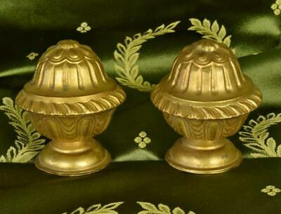 Pair Lovely Antique French Toleware Chateau Curtain Pole Finials,19th C - B984