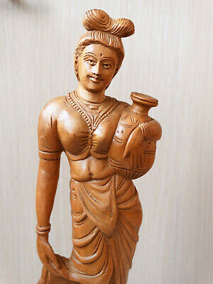 ANTIQUE STATUE Old Wood Hand Carved Decorative Indian Women Woodenware Figure