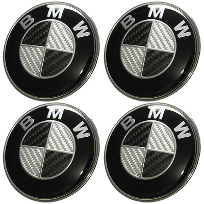 4 X BMW 68mm NABENDECKEL IN REAL CARBON ABENKAPPEN RADKAPPE FELGENDECKEL EMBLEME