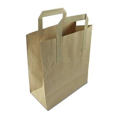 """(8x4x10"""")Medium BROWN PAPER CARRIER BAGS with HANDLES Sandwich/Lunch/Food/Fruit"""