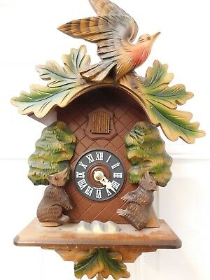 Hubert Herr Cuckoo Clock Black Bears And Bird Made In Germany Original
