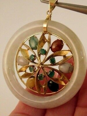 Chinese White Jade Yellow Red Green 14K Gold Emerald Gems Pendant Large 26.8 Gr
