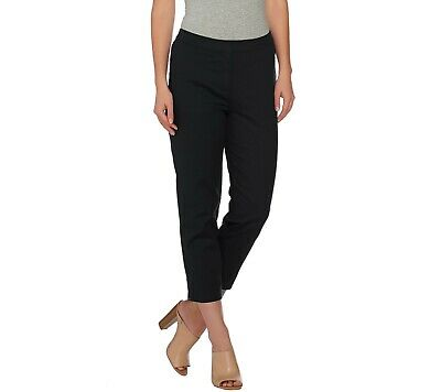 Dennis Basso Women's Pull-on Stretchable Woven Crop Pants Black Size 16 QVC